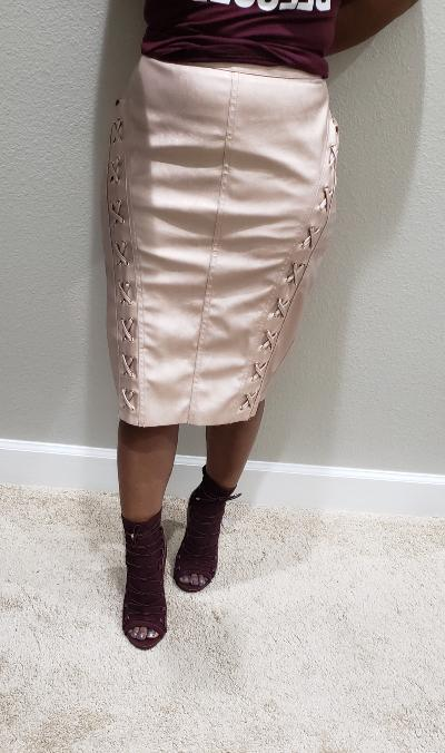 ef6f525a67e0 FAUX LEATHER SKIRT WITH LACING - ShoeDazzle